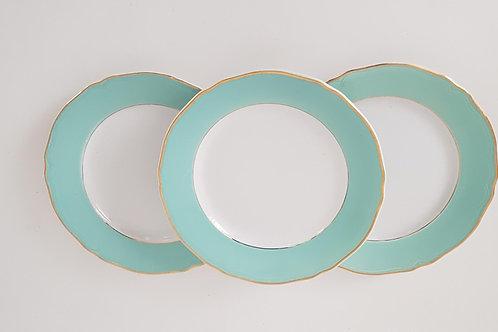 Assiettes plates céramiques vert d'eau vintage (les 3)