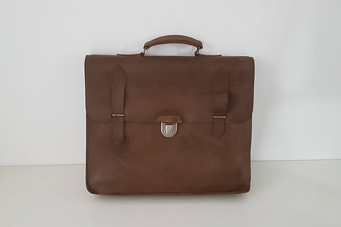 Cartable cuir marron  PTT Vintage