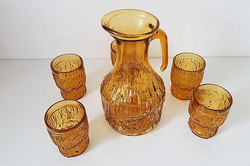 Service à eau en verre jaune ambré - carafe et 5 verres
