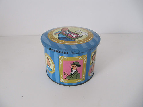 Boîte métal Tintin ronde Vintage