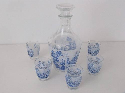 Service à liqueur ancien toile de Jouy bleu