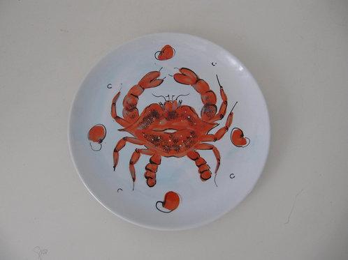 Assiettes céramiques crabes oranges ( le lot de 3)