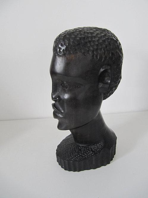 Statue Africaine ébène buste homme