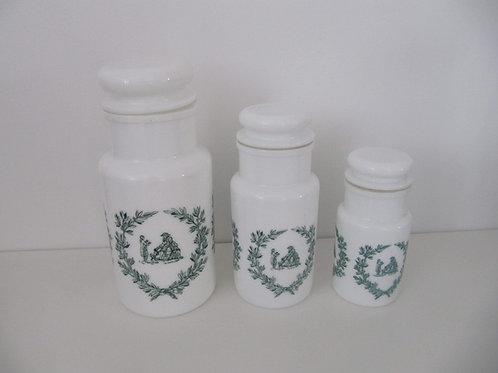 Pots apothicaires verre opalin ( les3)