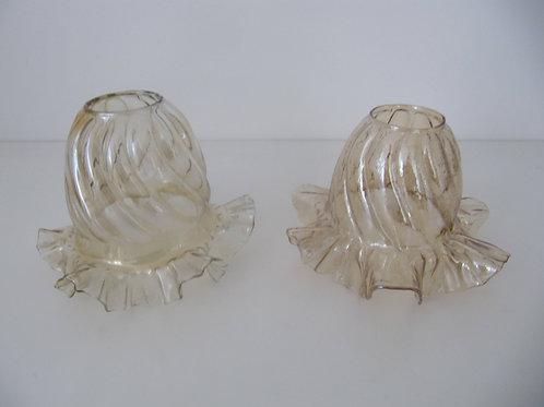 Globes abats jour cloche en verre jaune ambré - Art déco ( les 2)