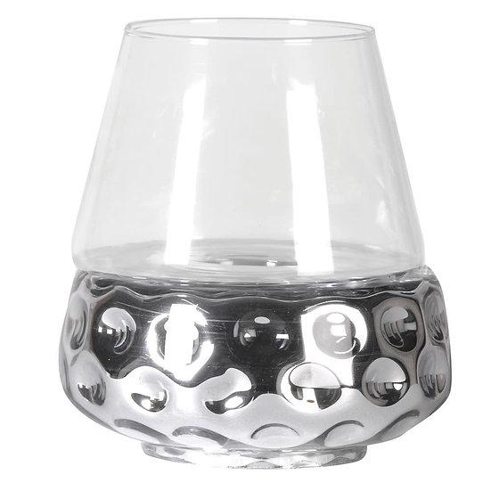 Silver Dimple Hurricane Vase