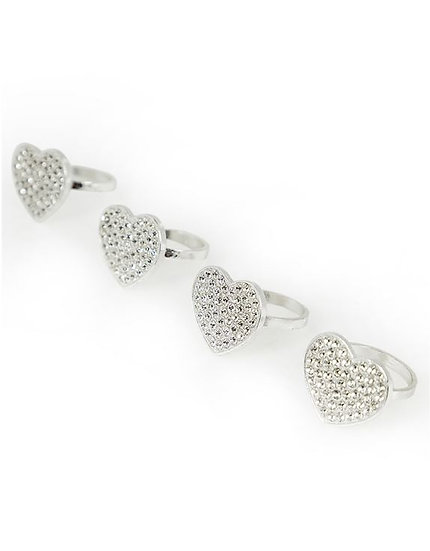 Diamond Heart Set of 4 Napkin Rings