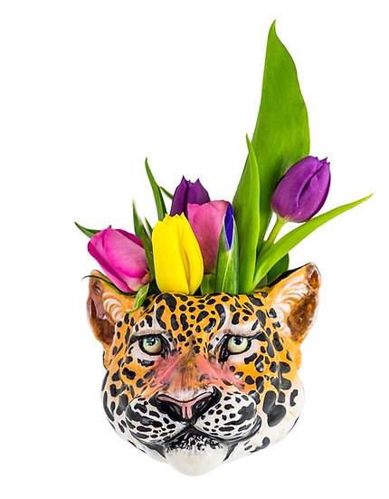 Ceramic Leopard Head Wall Sconce Vase