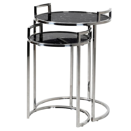 Set of 2 Black Marble Effect Nesting Tables