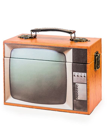 Brown Retro Television Storage Box