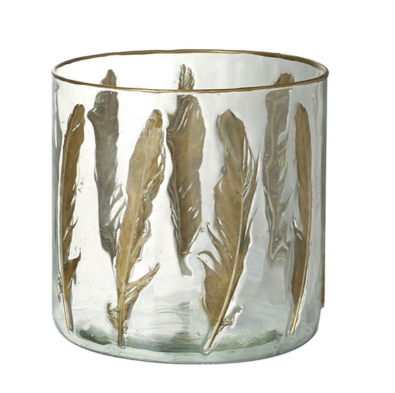 Feather Glass Candle Holder