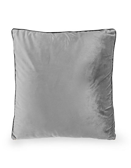 Large Silver Velvet Cushion with Gold Zip Detail 50x50cm