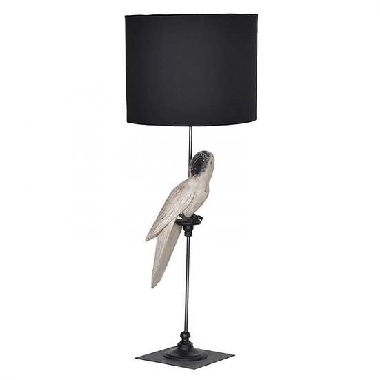 Parrot Lamp with Black Shade