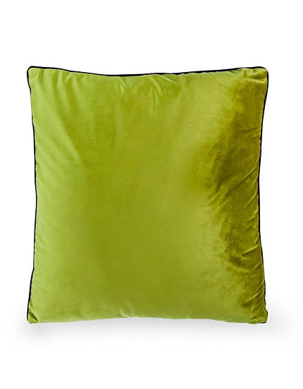 Large Avocado Green Velvet Cushion with Gold Zip Detail