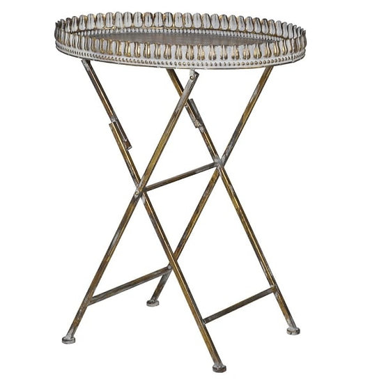 Distressed Metal Tray Table