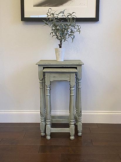 Set of 2 Distressed Oak Tall Tables