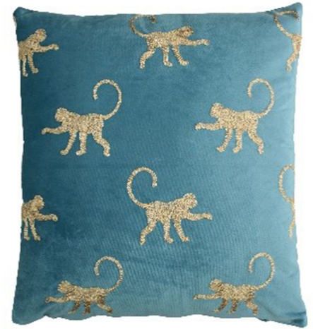 Blue Velvet Monkey Cushion