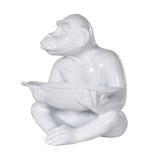 Large White Ceramic Monkey Holding a Bowl