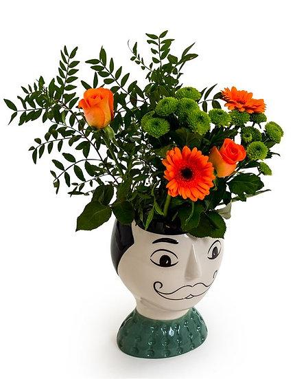 Ceramic Doodle Man's Face Vase