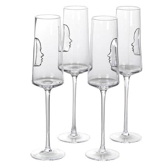 Set of 4 Silver Face Crystal Flute