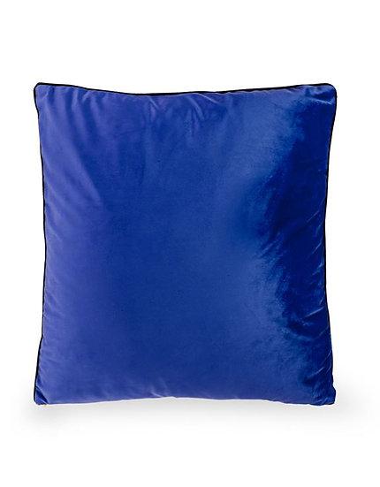 Large Royal Blue Velvet Cushion with Gold Zip Detail 50x50cm