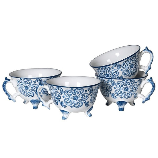 Set of 4 Blue Pattern Cups
