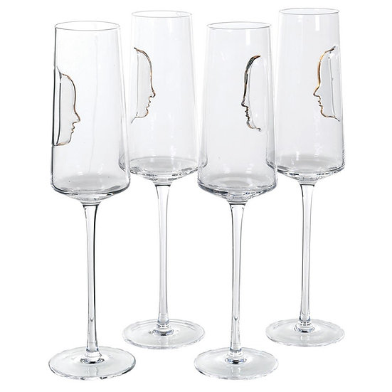 Set of 4 Gold Face Crystal Flute