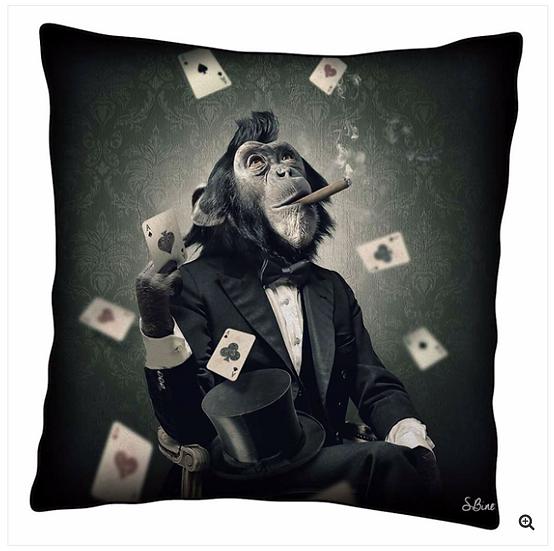 Monkey Poker Cushion
