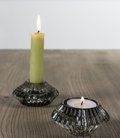 Glass Candleholder Lt Green