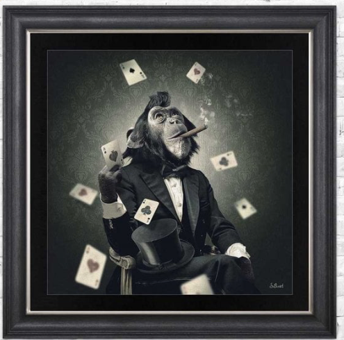 Monkey Poker Framed Wall Art