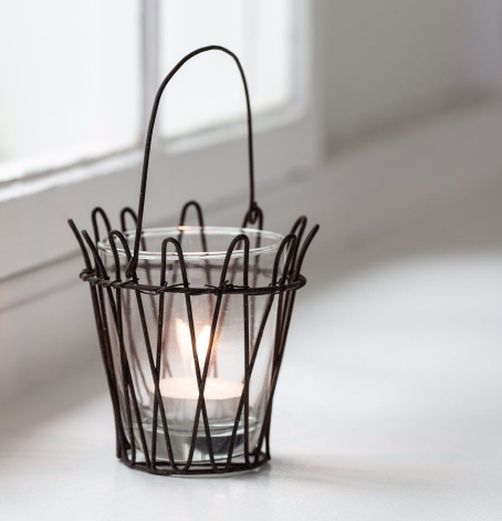 Hanging Wire Votive Holder with Glass