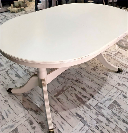 Distressed Extendable Wooden Oval Table
