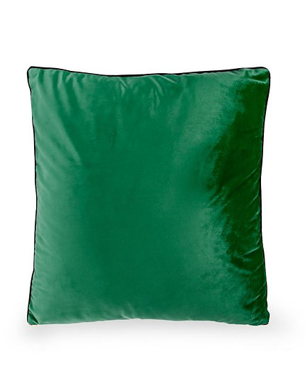 Large Green Velvet Cushion with Gold Zip Detail
