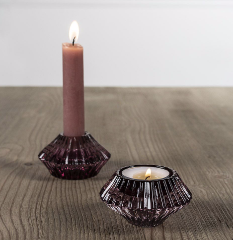 Glass Candleholder  Amethyst
