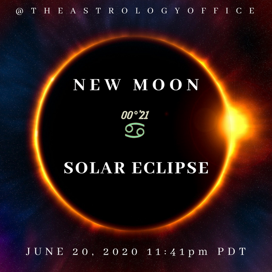 New Moon/Solar Eclipse at 00° Cancer on June 20, 2020