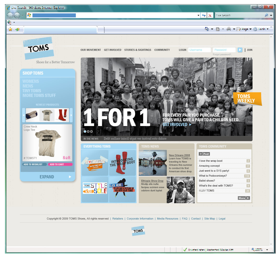 1edfc362b7e TOMS Shoes Website Design