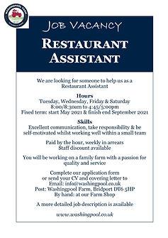 Job Ad - Restaurant Assistant May21.jpg
