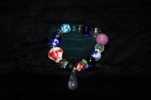 Ghana Drop Down Bracelet Red Blue Pink