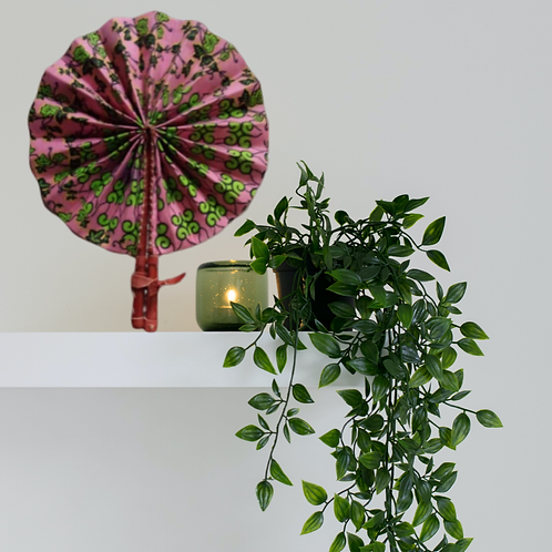 Pink & Green Ivy African Leather Fan