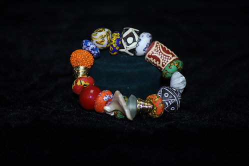 Black and White Africa Statement Krobo Beads Bracelet