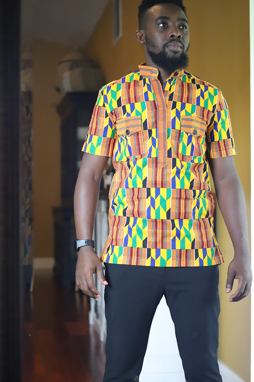 """Ohene"" Kente Button Up"