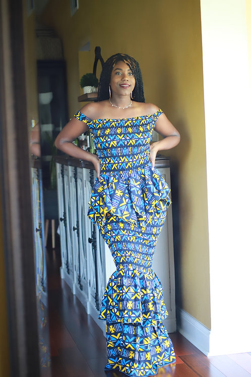"""Queen"" Two Piece Ankara Gown"