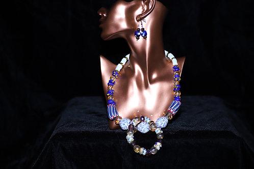 White & Royal Blue Krobo Beads Necklace