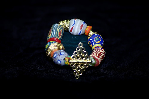 """Royalty"" Brass Ghana Krobo Beads Statement Bracelet"