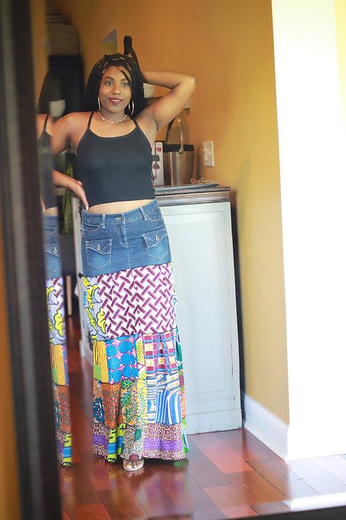 """Zola"" Mixed African Print Skirt"