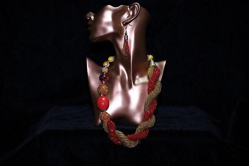 Red & Gold Krobo Beads Brass Necklace Set