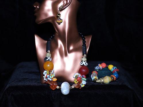 Orange, White, Red,Ghana Brass Krobo Beads Necklace