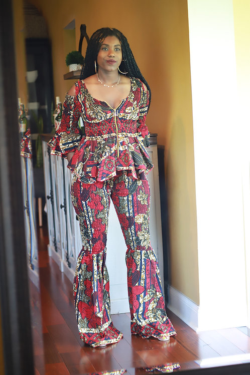 """Maroon"" Cold Shoulder- Wide Leg Ankara Outfit"