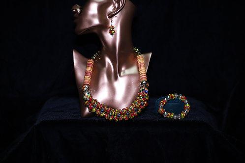 Orange and Red Ghana Krobo Necklace Set