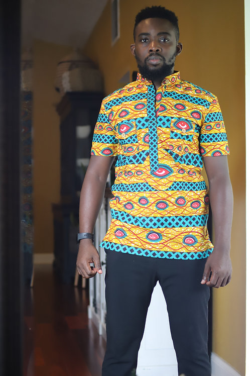 """Armah"" African Print Button Up"